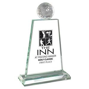 Trophy Award - Crystal Golf Ball on Jade Glass Plaque