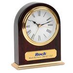Custom Clock - Arched Wooden Desk Alarm Clock w/ Gold Trim