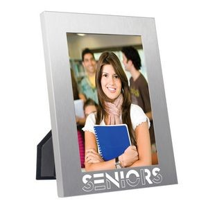 "Photo Frame - Brushed Aluminum Picture Frame for 4""x6"" Photo or Insert"