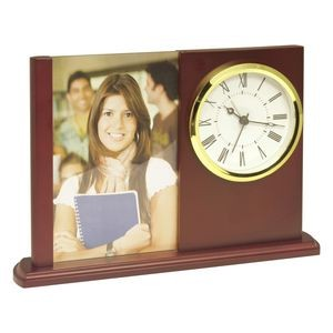 "Clock - Glass and Wooden desk Alarm Clock features a slot for 4"" x 6"" Photo or customized insert"