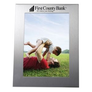 "Photo Frame - Brushed Aluminum Picture Frame for 5""x7"" Photo or Insert"