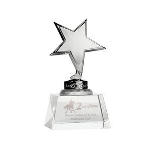 Trophy Award - Silver Metal Star mounted on Crystal Base