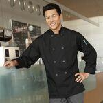 Custom Black Full Sleeve Plastic Button Chef Coat