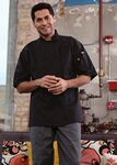 Custom Black 1/2 Sleeve Knot Button Chef Coat