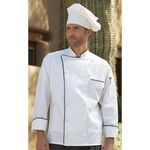 Custom Egyptian Cotton White Full Sleeve Hand-Rolled Button Black Piping Chef Coat