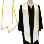 Custom White Graduation Sash with Gold Binded Edge