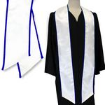 Custom White Graduation Sash with Royal Blue Binded Edge