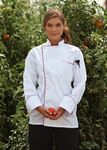 Custom White Full Sleeve Cloth Button Chef Coat with Black Piping