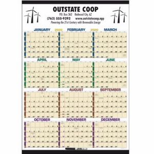 Triumph Time Management Span-A-Year Laminated Calendar w/ Marker