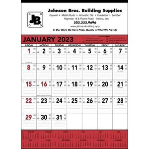 Triumph® Red & Black Contractor Memo Calendar