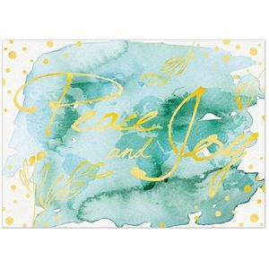 "Watercolor Peace & Joy Holiday Greeting Card (5""x7"")"