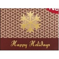 "Happy Holidays Snowflake Burgundy & Gold Holiday Greeting Card (5""x7"")"