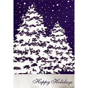 "Snow Covered Trees Happy Holidays Greeting Card (5""x7"")"
