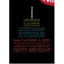 "Vertical Black Happy Birthday Everyday Greeting Card (5""x7"")"