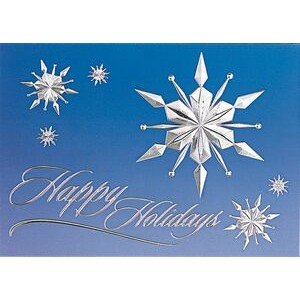 "Raised Relief Snowflakes on Blue Sky Holiday Greeting Card (5""x7"")"