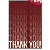 "Red Thank You Everyday Blank Note Card (3 1/2""x5"")"