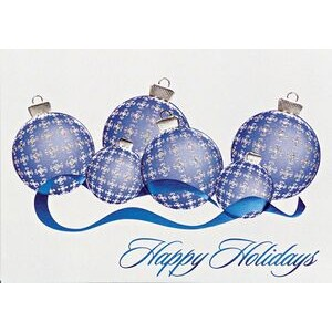 "Raised Blue/ Silver Plaid Ornament Holiday Greeting Card (5""x7"")"