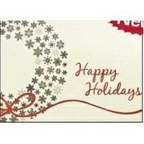 "Happy Holidays Wreath Cream & Gold Holiday Greeting Card (5""x7"")"