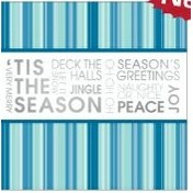 "'Tis The Season Blue & Silver Holiday Greeting Card (5 3/4""x5 3/4"")"