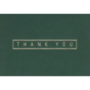 "Green & Gold Thank You Everyday Blank Note Card (3 1/2""x5"")"