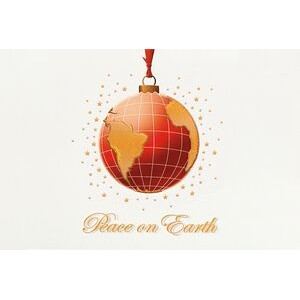 "Raised Relief Globe Ornament Holiday Greeting Card (5""x7"")"