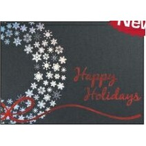 "Happy Holidays Wreath Silver & Black Holiday Greeting Card (5""x7"")"