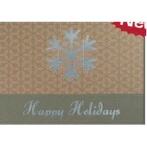 "Happy Holidays Snowflake Green & Silver Holiday Greeting Card (5""x7"")"