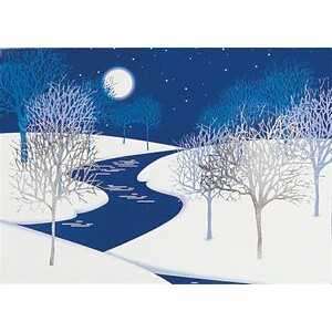 "Cold Night Trees with Snow and River Holiday Greeting Card (5""x7"")"