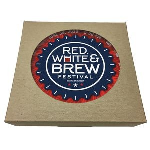 Set of 6 Round Paperboard Coasters w/ Natural Kraft Box