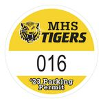Custom Round Vinyl Outside Parking Permit Decal (2 1/2