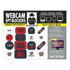 Webcam Spy Blockers Tech Tattoos™ Blue Recycle Sticker Round Rock