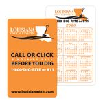 Custom White Vinyl Plastic Vertical Calendar Card w/ Lined Blocks (0.020