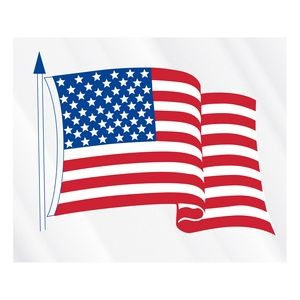 "Clear Static Cling U.S. Flag Static Face Decal (3 1/2""x4 1/4"")"
