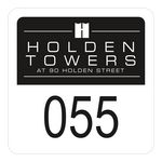 Custom Numbered Square Vinyl Outside Parking Permit Decal (1 3/4
