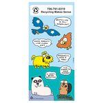 Custom Recycled Paper Environmental Sticker Sheet w/ Cartoon Birds & Animals