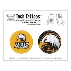 PopSocket Tech Tattoos™ Blue Recycle Sticker Round Rock