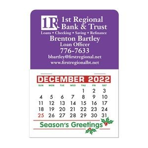 Stick It Decal 1 Month Calendar Pads - Rectangle w/Rounded Corner Blue Recycle Sticker Somerton
