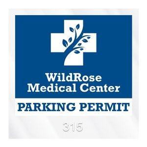 "Square Clear Polyester Numbered Inside Parking Permit Decal (3""x3"")"