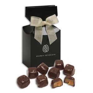 Barrel-Aged Bourbon Caramels in Black Gift Box