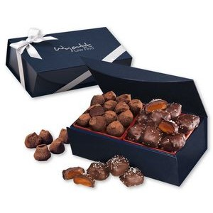 Sea Salt Caramels & Truffles in Navy Magnetic Closure Box