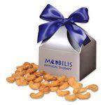 Custom Honey Roasted Cashews in Silver Gift Box