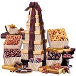 Custom Golden Delights Tower with Sheer Burgundy Ribbon