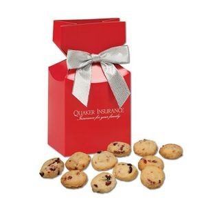 Gourmet Bite-Sized Cranberry Shortbread Cookies in Red Premium Delights Gift Box