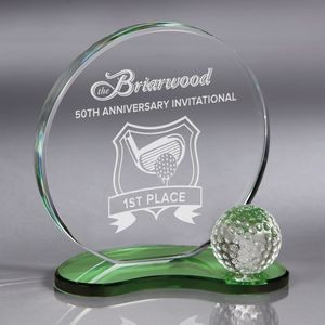 Howard Miller Emerald - Large Golf Crystal Award