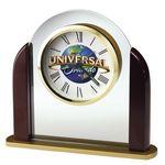 Custom Howard Miller Derrick Glass Arch Alarm Clock w/ Rosewood Sides (Full Color)