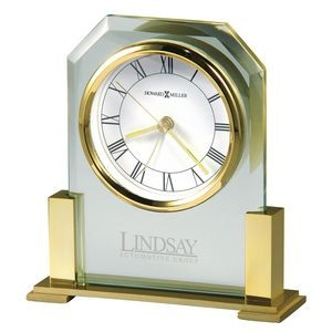 Howard Miller Paramount Glass Desk Alarm Clock w/Brass Finish Stand