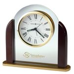 Custom Howard Miller Derrick Glass Arch Alarm Clock w/ Rosewood Sides