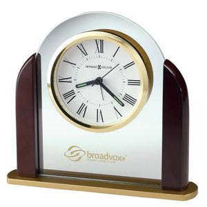 Howard Miller Derrick Glass Arch Alarm Clock w/ Rosewood Sides