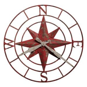 Howard Miller Compass Rose round metal wall clock
