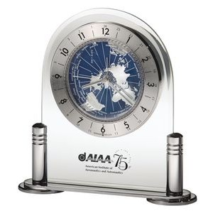 Howard Miller Discoverer World Time Desk Clock w/ Revolving Map